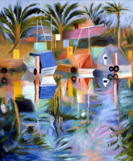 "Harbor with Circles, 66"" x 55"" oil on canvas, 1986, private collection"