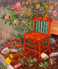 "Red Chair at Noon, 54"" x 44"" oil on canvas, 1991, private collection"